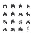 fire flames or burning symbols set black vector image