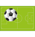 Football ball on the background with pitch vector image vector image