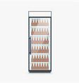 fridge full beer bottles on white vector image vector image