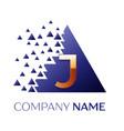 golden letter j logo symbol in blue pixel triangle vector image vector image