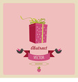 Greeting card with a bird and a gift vector image