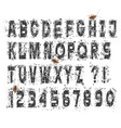 grunge dirty alphabet letters and numbers set vector image vector image