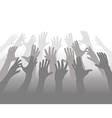 Hands of Crowd of People Reach for Copyspace vector image vector image