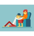 Happy Family Husband and Pregnant Wife Sitting on vector image vector image