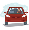 happy young woman driving the red car vector image