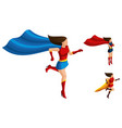 isometrics superhero girls in different suits vector image vector image