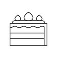 layer strawberry cake simple outline icon vector image