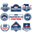 logo collection set with steak theme vector image vector image