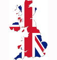 map uk with national flag vector image vector image