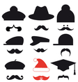 Mustache set with hats vector image vector image