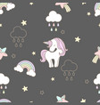 pattern sweets unicorn seamless cute vector image vector image