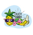 pineapple wearing sunglasses with watermelon and vector image