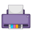 Printer with CMYK colored paper icon cartoon style vector image vector image