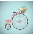 Retro Bicycle in flat style with basket vector image vector image