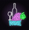 retro neon wine sign on brick wall background vector image vector image