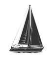 sailing yacht silhouette vector image vector image
