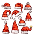 Santa red hat sketch for Christmas holiday design vector image