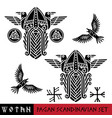 scandinavian pagan set - god wotan and two ravens