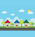scene with three houses along the road vector image