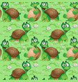 seamless pattern with cartoon turtles on a green vector image
