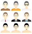 Set avatar man cartoon picture profile business vector image