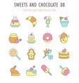 set retro icons sweets and chocolate vector image