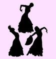 silhouette flamenco dancer vector image vector image