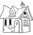 simple black and white cute little house vector image vector image