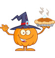 smiling witch pumpkin character holding up a pie vector image