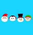 snowman santa claus elf penguin bird round face vector image vector image
