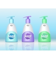 Soap Bottles Set with Spreader Cosmetic Product vector image vector image