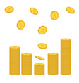 stacks of gold coin icon flying falling down vector image vector image