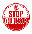 stop child labour grunge rubber stamp vector image