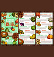tropical fruits and exotic berries menu vector image vector image