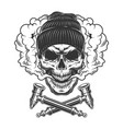 vintage hipster skull wearing beanie hat vector image vector image