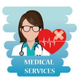 woman doctor with medical services icons vector image vector image