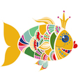Cartoon color gold fish over white vector image