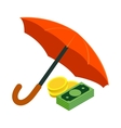 Golden coins and banknotes under umbrella icon vector image
