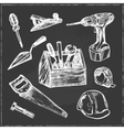 Hand drawn Set of Construction tools vector image
