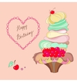 Image of a cake and the words Happy Birthday vector image