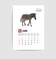 2016 June calendar zebra polygon vector image vector image