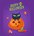 a cute black cat on a halloween pumpkin vector image vector image