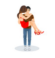 a man holds a girl in his arms lovers vector image vector image