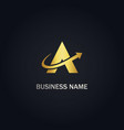 a triangle arrow gold logo vector image vector image