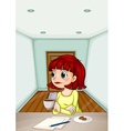 A woman inside the room drinking her coffee while vector image vector image