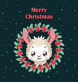 background with llama and christmas wreath vector image vector image