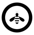 bee icon black color in circle vector image vector image