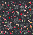 black pattern with rose plant and animals vector image