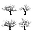 black trees silhouette on white background vector image