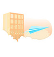 blue paper airplane fly in sky against building vector image